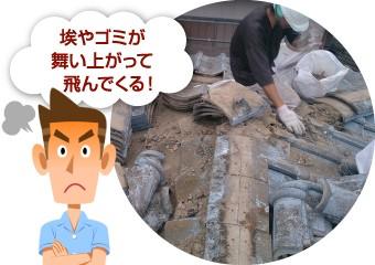 工事中の埃やゴミの飛散に怒る男性